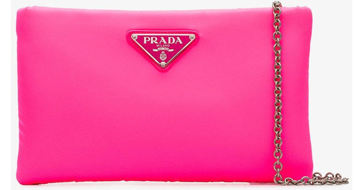01c56e1ffb4e64 ... new zealand prada fluorescent pink clutch bag with chain in pink save  40.0 lyst c9c82 e620f greece prada wallet fiocco wallet saffiano ...