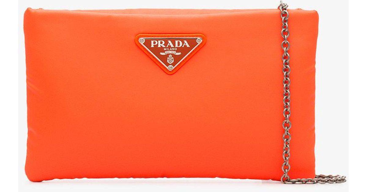 ... where to buy prada fluorescent orange clutch bag with chain in yellow  lyst bf5e4 ac158 a2f49cfadfe40