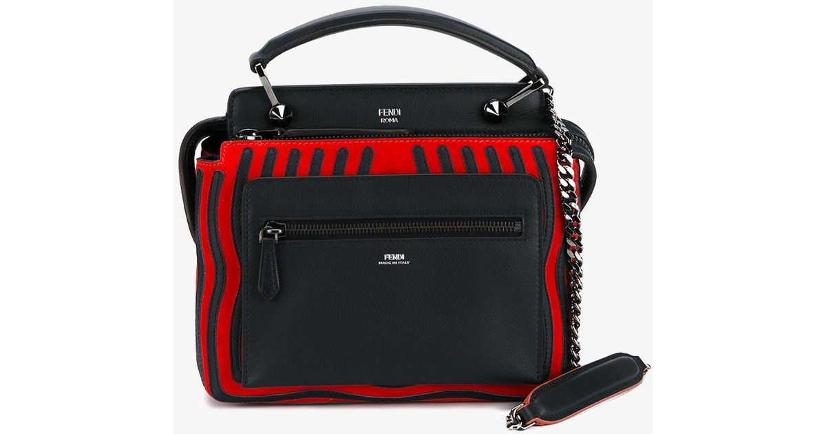 2ec035386b1f Lyst - Fendi Black Red Dotcom Click Leather Shoulder Bag in Black