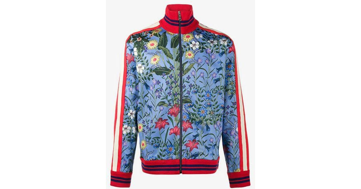 74561b9ee5d Gucci New Flora Technical Jersey Jacket in Blue for Men - Lyst