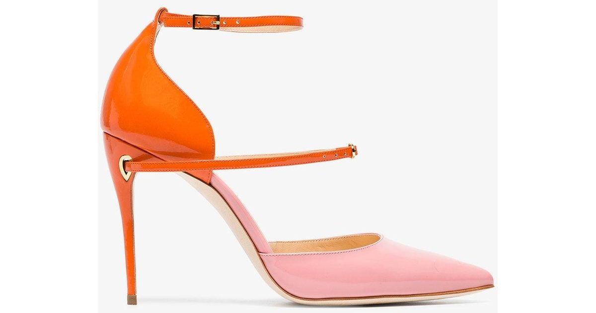 pink and orange Enrico 105 patent leather pumps - Yellow & Orange Jennifer Chamandi Ajoxs6