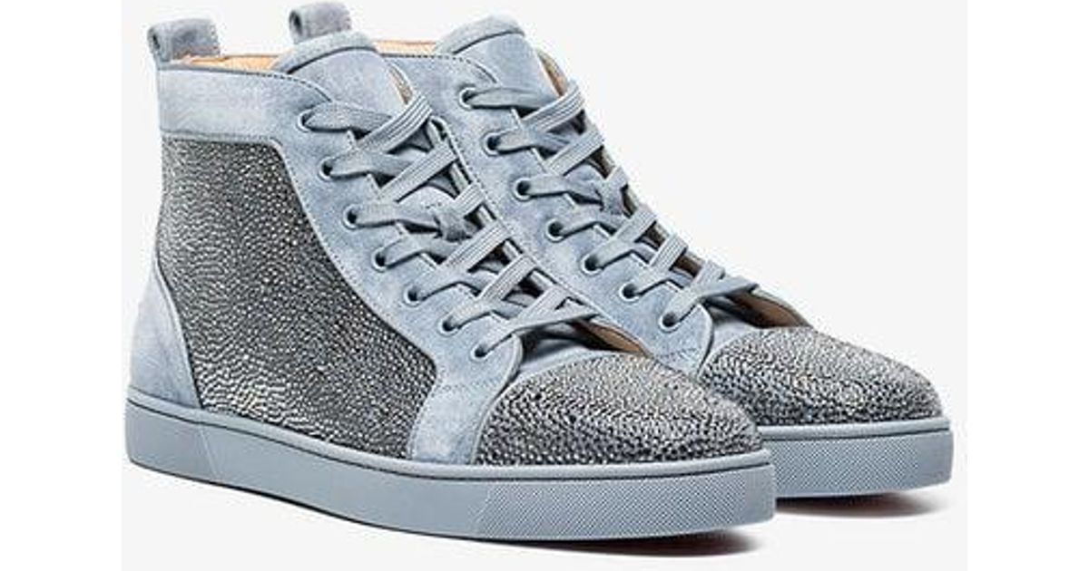 d046de7192a6 Lyst - Christian Louboutin Grey Orlato Rhinestone Suede High-top Sneakers  in Gray for Men