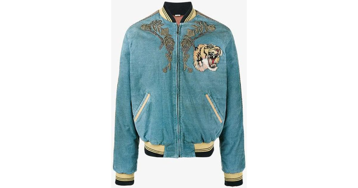 f1c985c4c08e7 Gucci Loved Embroidered Bomber Jacket in Blue for Men - Lyst