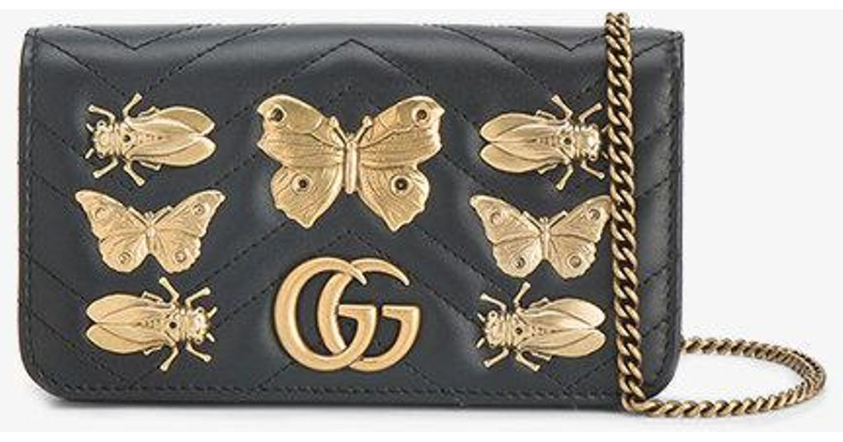 9ccda64a9895 Gucci Gg Marmont Bug Embellished Chain Wallet Bag in Black - Lyst