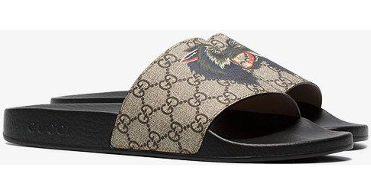 21460cd478c031 Lyst - Gucci Gg Supreme Slides With Wolf for Men