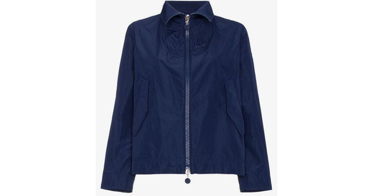 747f1afea19c Moncler High Neck Cropped Jacket in Blue - Lyst
