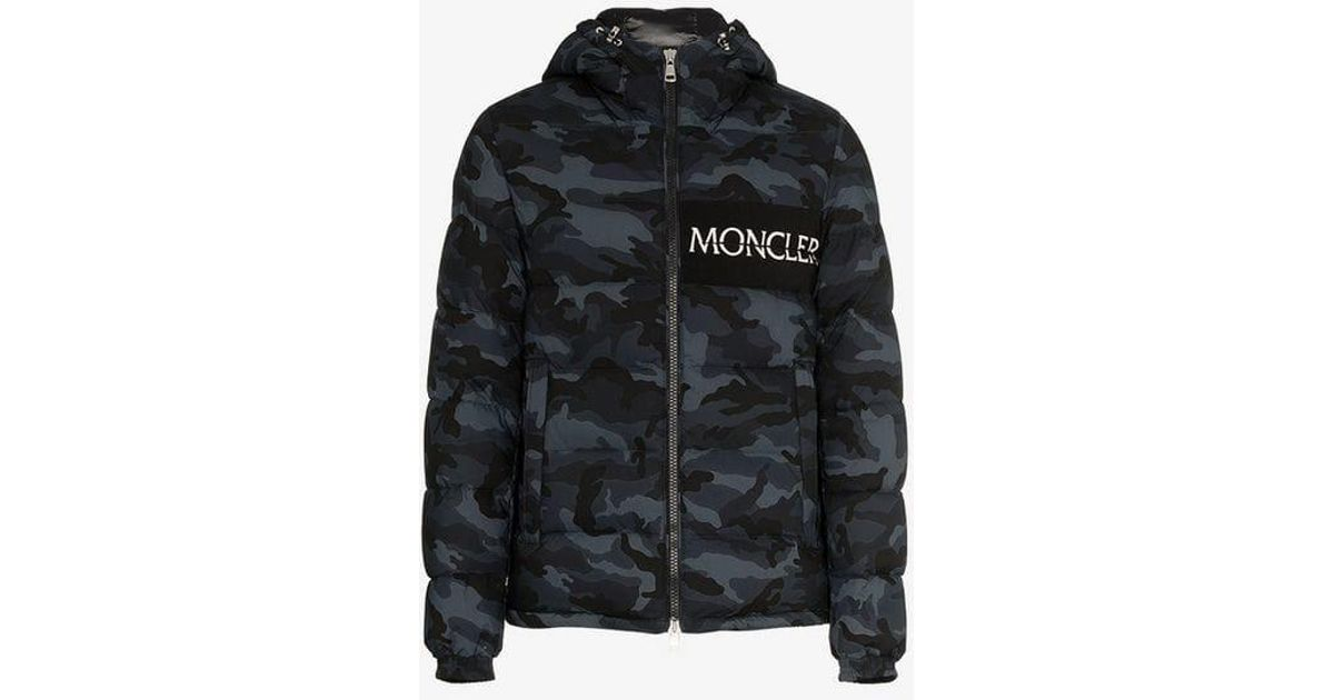 6c36b1984f6 Moncler Blue Aiton Camo Print Hooded Jacket for men