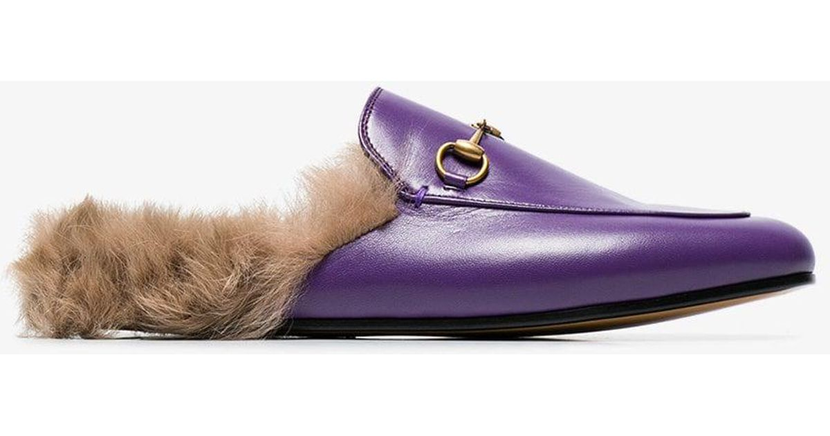 ba9db9780f8 Lyst - Gucci Purple Princetown Fur Lined Leather Mules in Purple