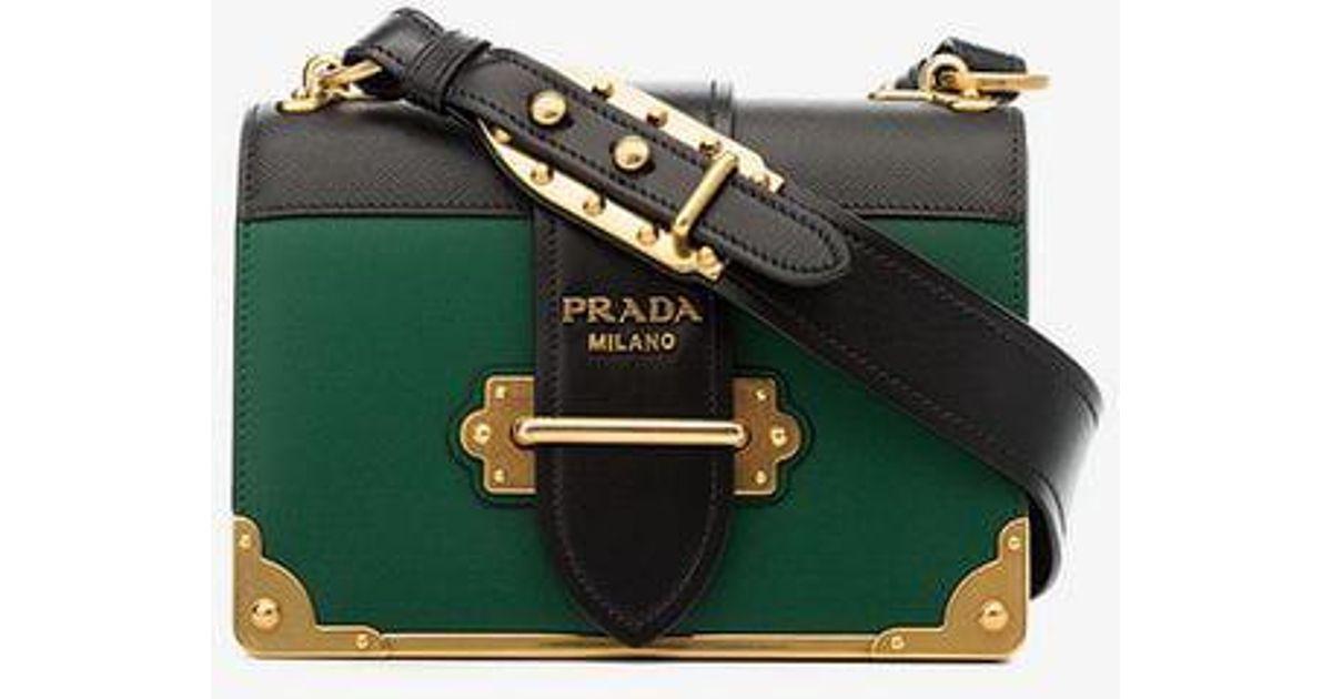 4eda3184ae49 Prada Green And Black Cahier Cross Body Leather Bag in Green - Lyst