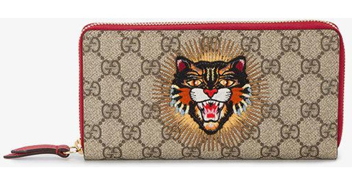 37c9ad25d03f Gucci Gg Supreme Angry Cat Wallet in Natural - Lyst