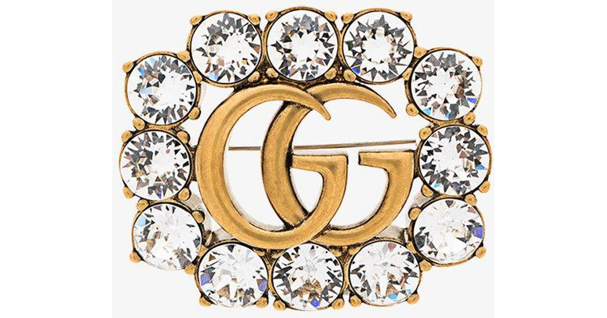 65aa1a22a Gucci Gg Marmont Crystal Brooch in Metallic - Lyst