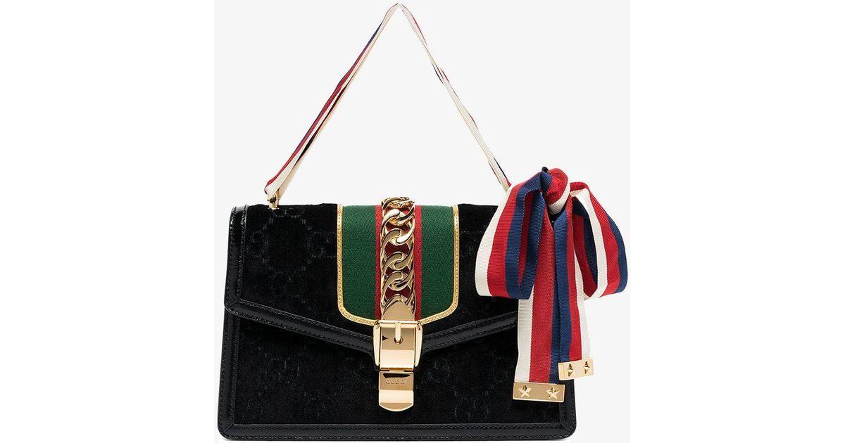 8df9b0e84d5a Lyst - Gucci Black Sylvie GG Velvet Small Shoulder Bag in Black