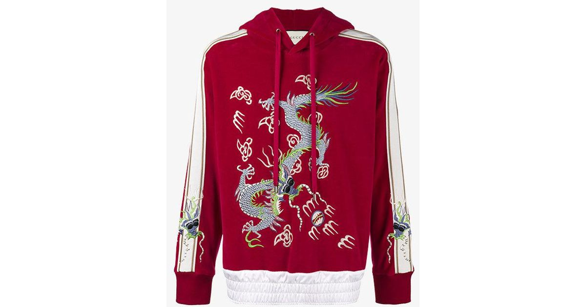 64e210af1 Gucci Dragon Embroidered Hoodie in Red for Men - Lyst