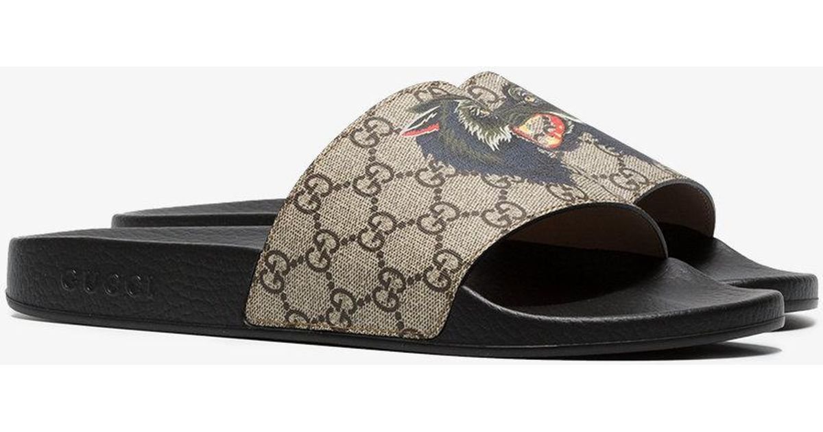 7fb2cd49f32 Lyst - Gucci GG Supreme Slides With Wolf for Men