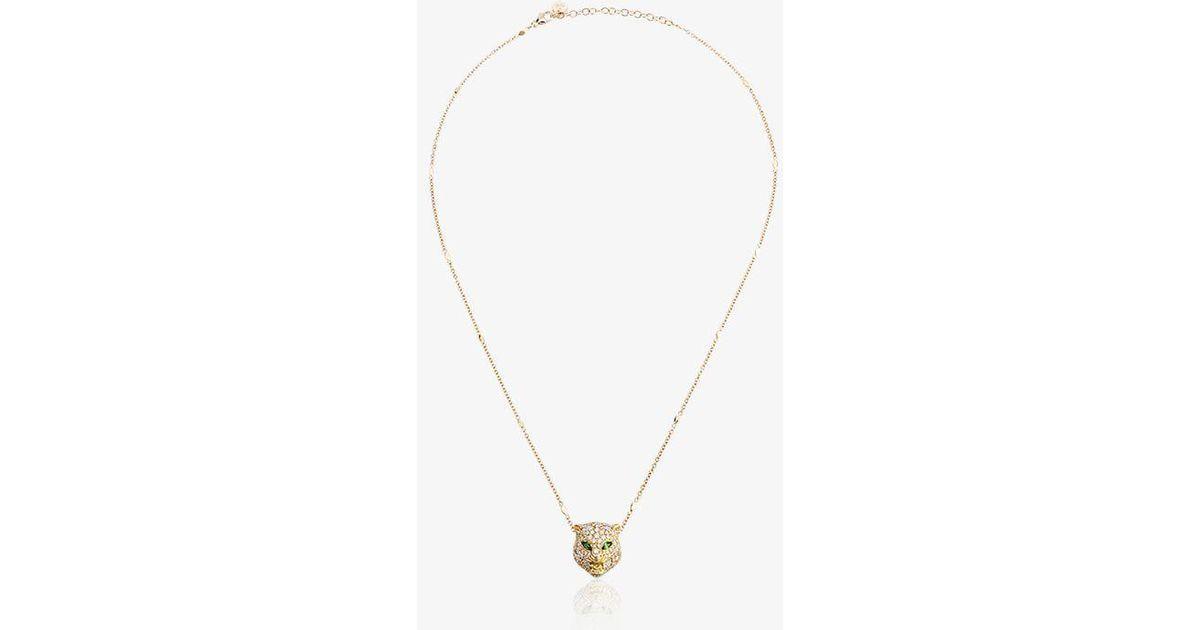 eaf65947c54 Lyst - Gucci 18kt Gold Cat Le Marché Des Merveilles Necklace in Metallic