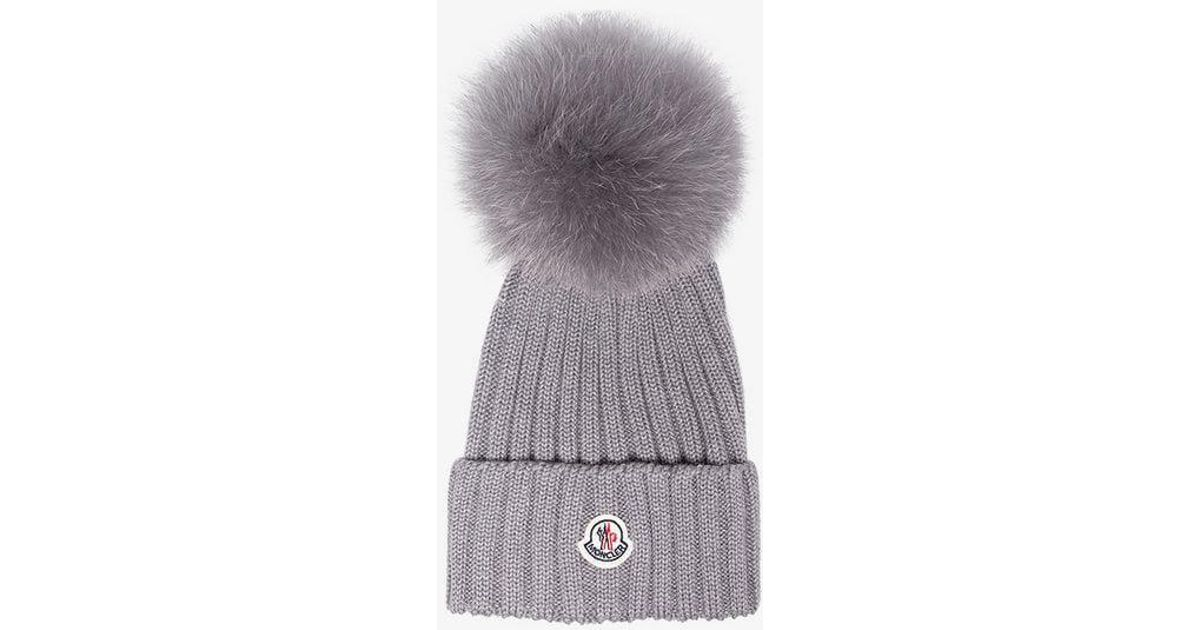 Lyst - Moncler Grey Wool Beanie Hat With Pom Pom in Gray 47c767a6576