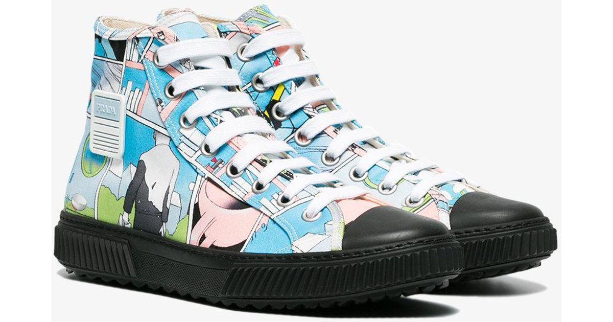 d9cf192353d6a3 Lyst - Prada Comic Print Sneakers in White for Men