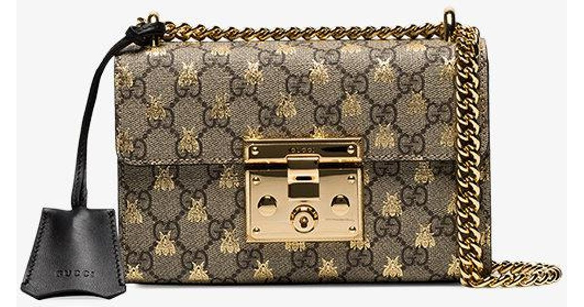 96e5c36898e7 Lyst - Gucci Padlock Small Gg Bees Shoulder Bag