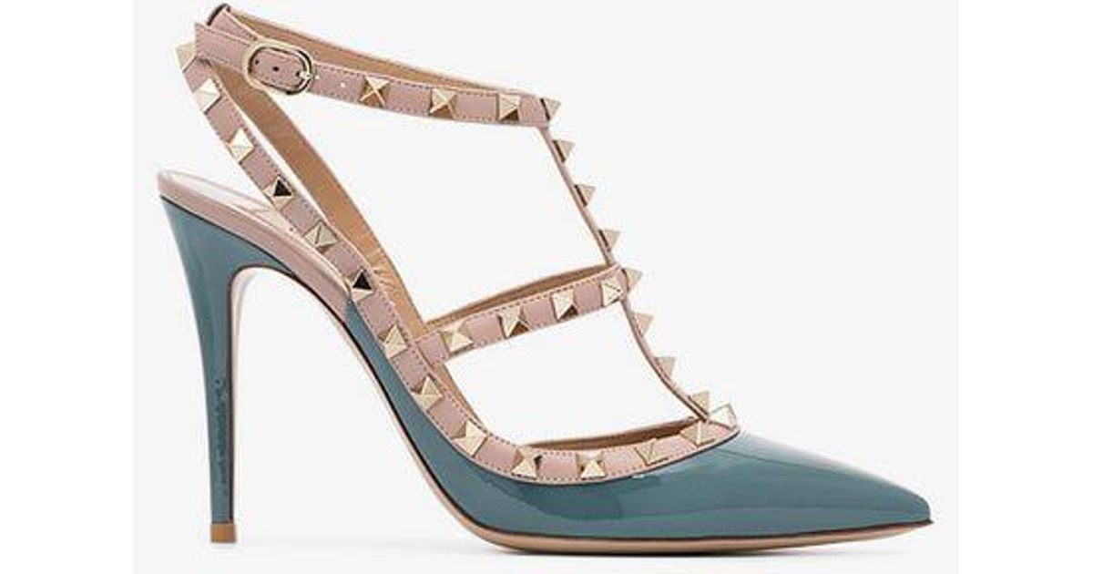 1a30e84fc58 Valentino Rockstud 100 Patent Leather Pumps in Blue - Lyst