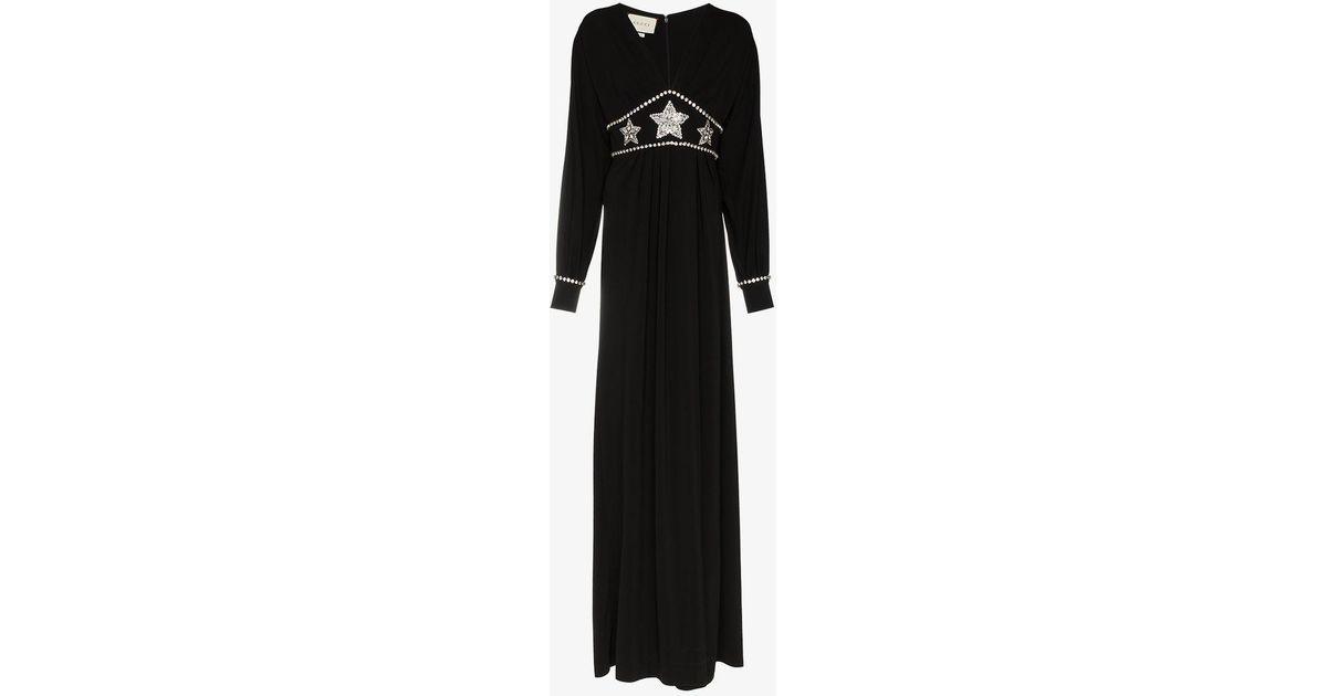 b92c51bf796 Lyst - Gucci Black Star Embellished Maxi Dress in Black