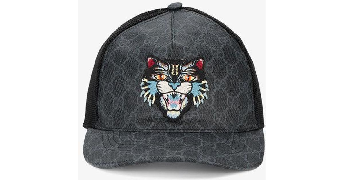 Lyst - Gucci Gg Supreme Angry Cat Baseball Hat in Black for Men 3136179a51f