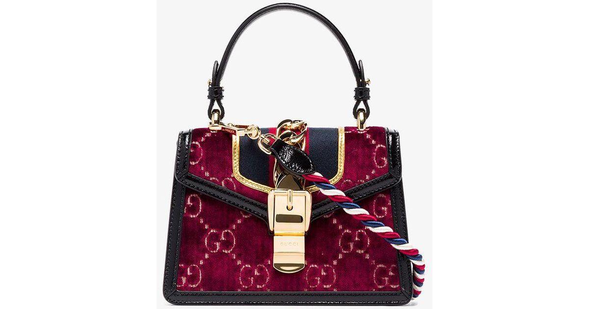 8e5d63254 Gucci Multicoloured Sylvie Mini Logo Velvet And Leather Shoulder Bag in Red  - Lyst