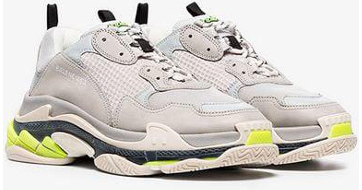 9a2e392e828b Balenciaga Grey And Fluorescent Triple S Sneakers in Gray for Men - Lyst