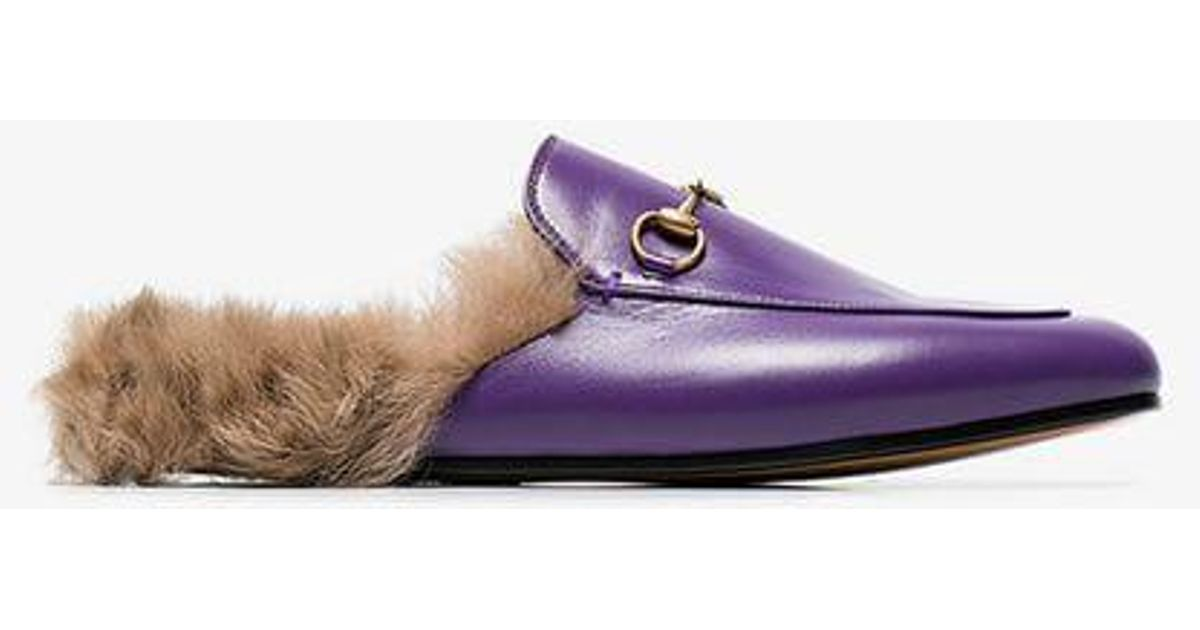 0ced205ed Gucci Purple Princetown Fur Lined Leather Mules in Purple - Lyst