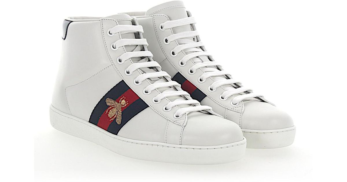 5f0ad26af Gucci Ace Sneakers High-top Leather White Stripes Bees Embroidery Gold in  White for Men - Lyst