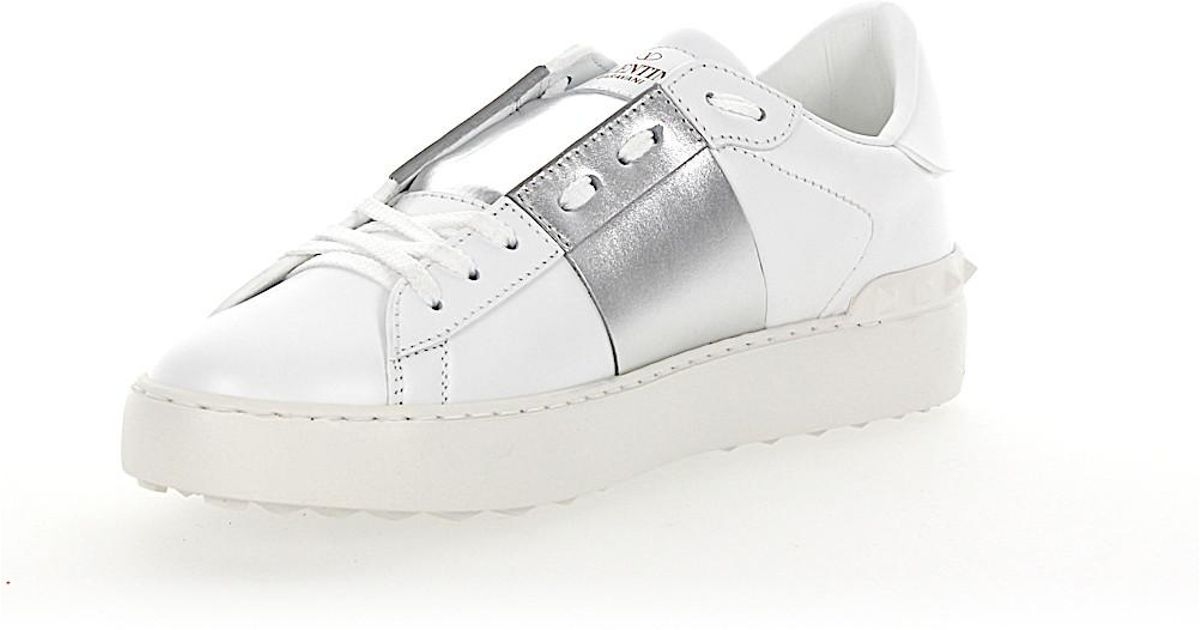 7d84a1889f6d Valentino Sneakers Open Leather White Stripes Silver Metallic in White -  Lyst
