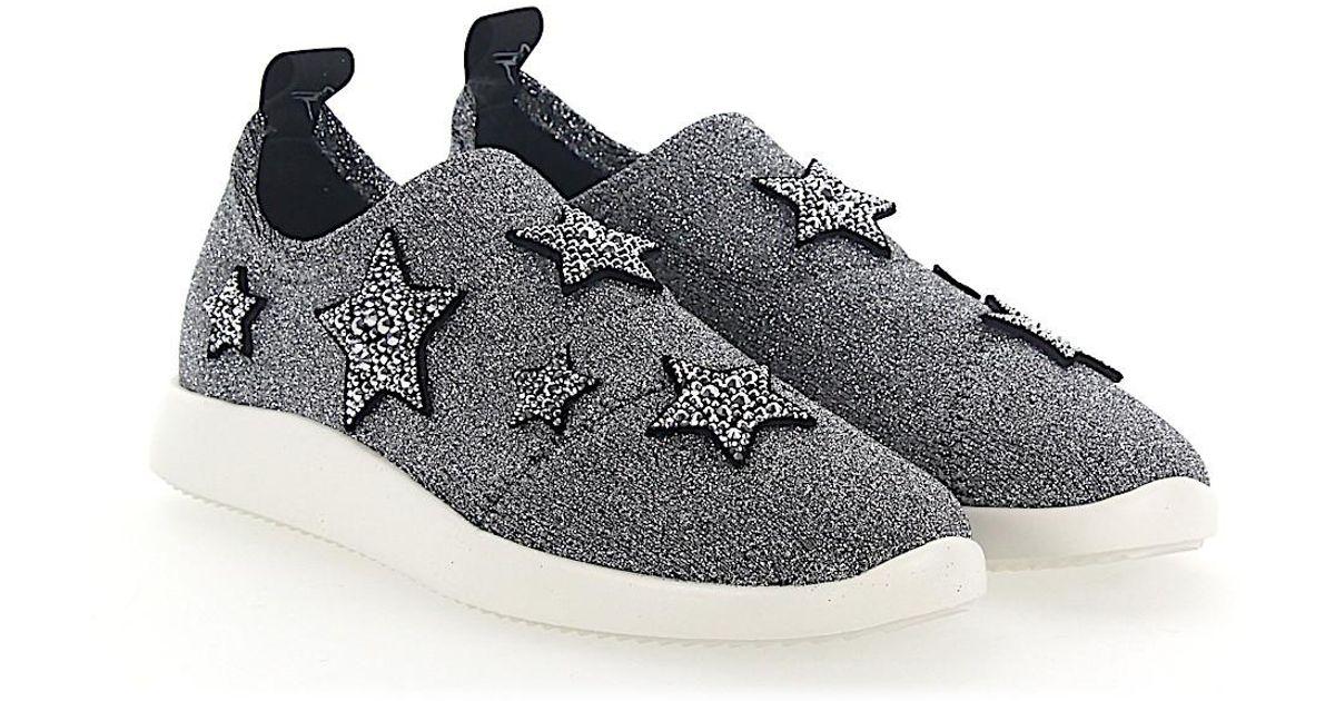 Sneakers Slip-On NATALIE textile Glitter Star pattern Strass silver Giuseppe Zanotti EtIzkFY