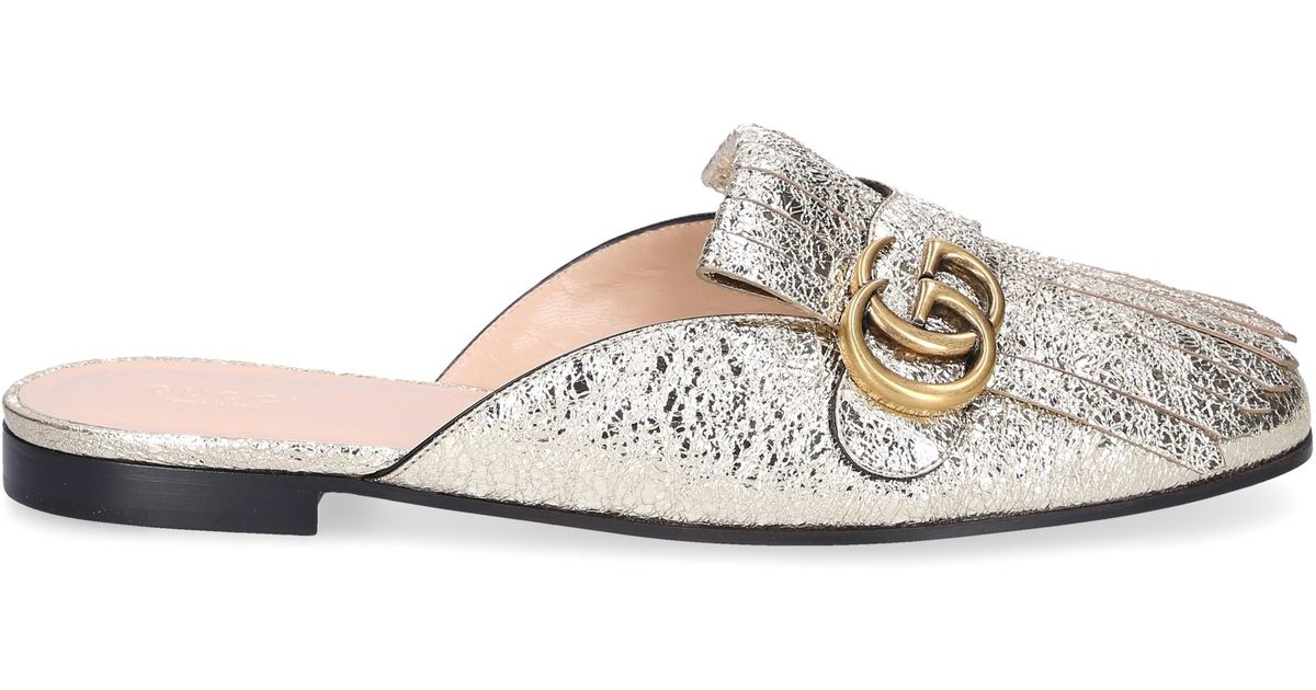 dc3cced2c Gucci Slip On Shoes Dkt00 Smooth Leather Embossing Tassel Gold in Metallic  - Lyst