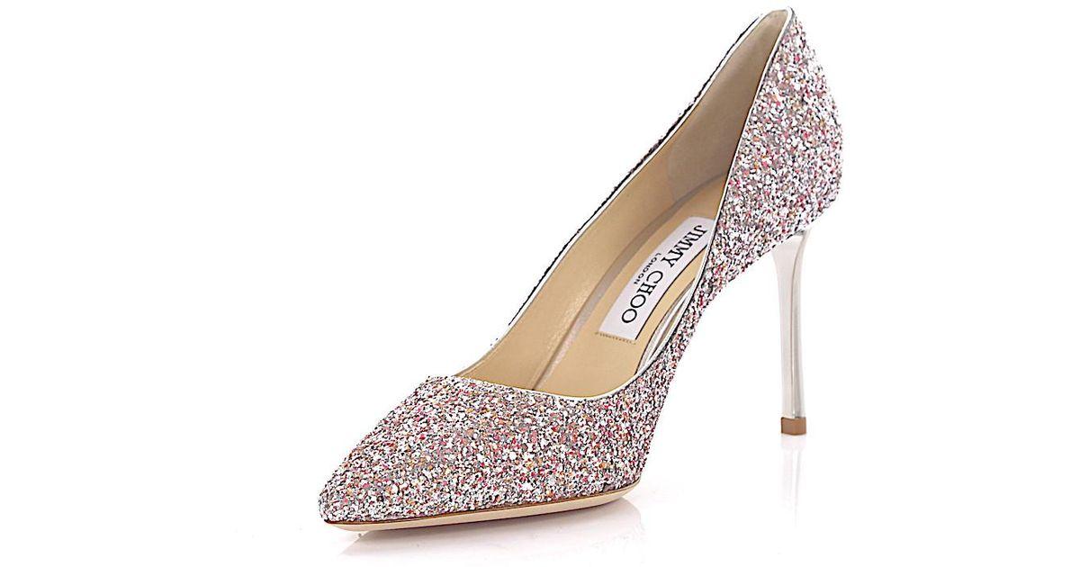 158709c7d9a Lyst - Jimmy Choo Pumps Romy 85 Fabric Glitter Silver Pink in Metallic