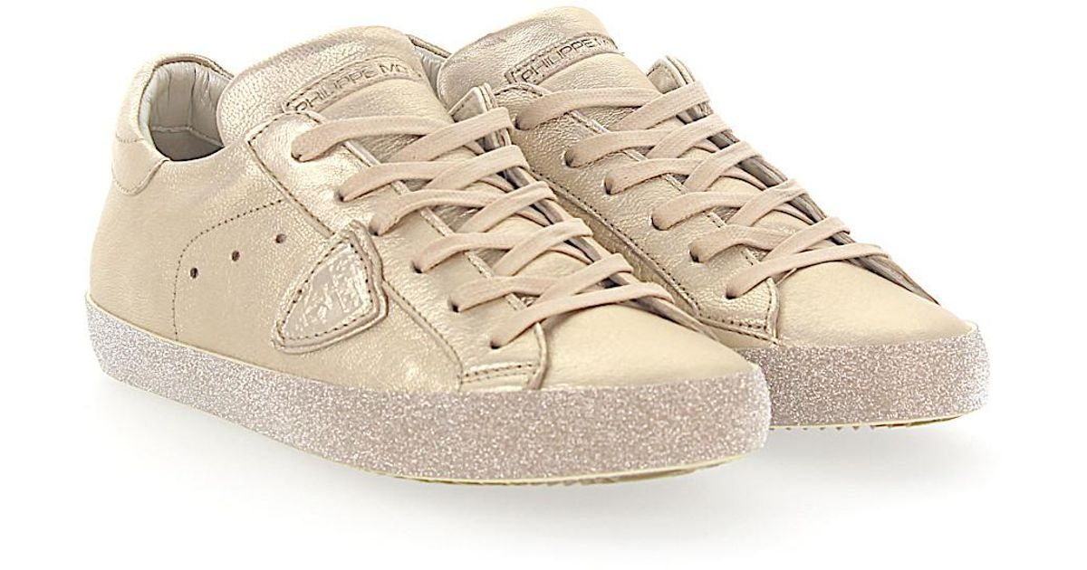 Sneakers PARIS leather gold metallic glitter Philippe Model swBZMH9