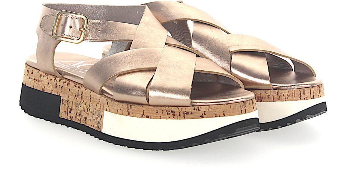 AGL ATTILIO GIUSTI LEOMBRUNI Sandals D608143 Plateau leather metallic bronze IqmgiGVQB