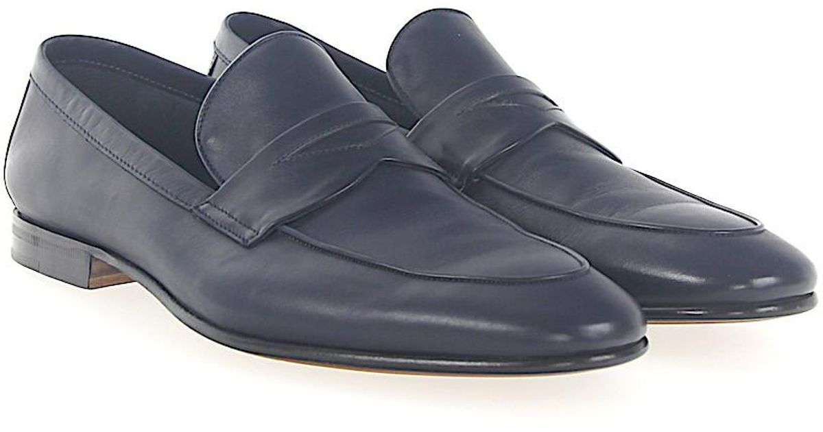 Penny loafer 041595 leather blue soft hand Moreschi Cheap Very Cheap Discount Amazon J9KrQ34zS