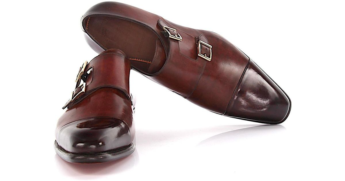 Double-Monk-Strap 07508 leather bordeaux goodyear welted Santoni Good Selling Cheap Price Great Deals Online Buy Cheap Countdown Package LJNDtalh7