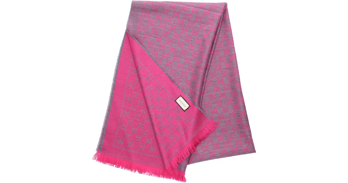 3426298915570 Gucci Schal 3G200 Baumwolle Logo rosa grau in Pink - Lyst