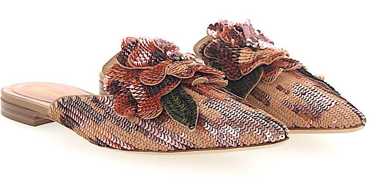 Alberta Ferretti Mules MIA sequins Flower Decoration rose rWHuB