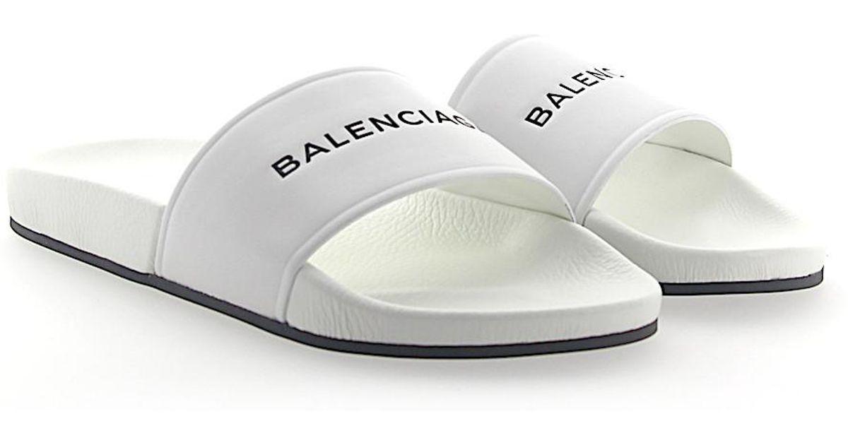 Sandals WAL00 nappa leather Embossing Logo white Balenciaga 5Mq4BlS