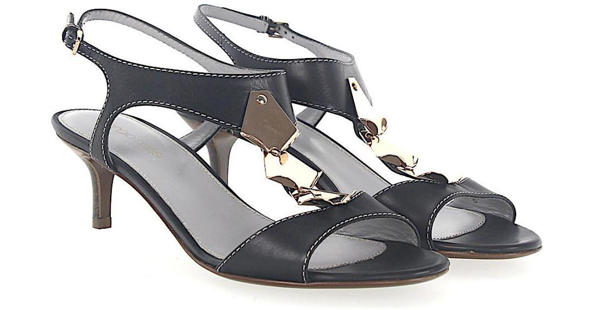 Sergio Rossi Sandals smooth leather Logo Metal decorations dark
