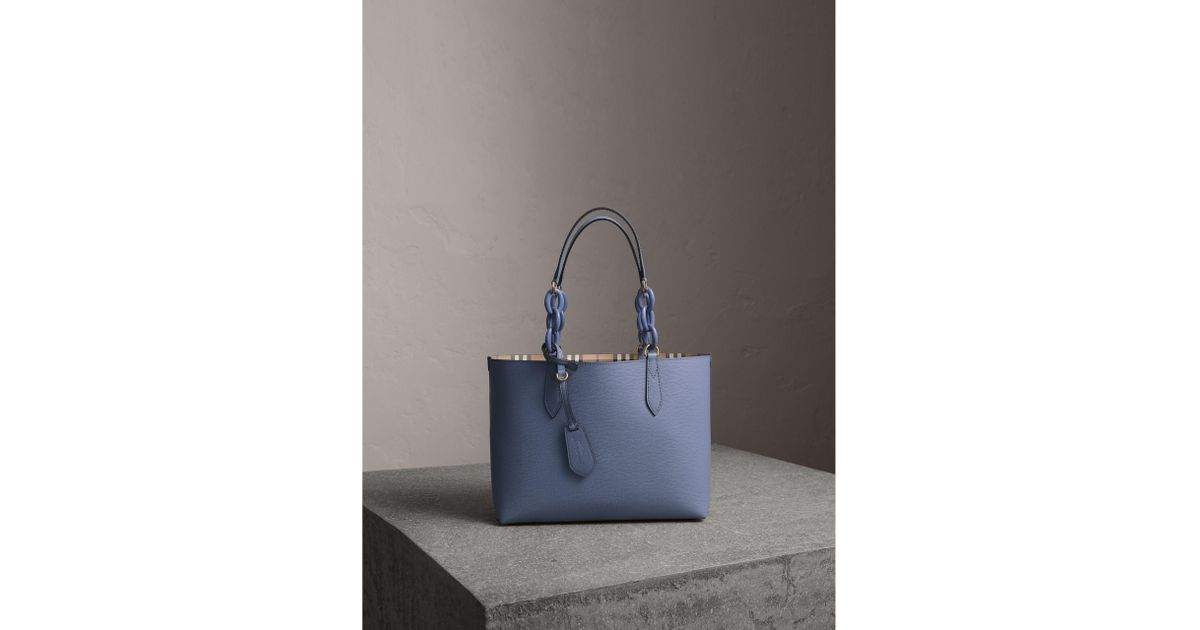 44bbe901f641 Lyst - Burberry The Small Reversible Tote With Resin Chain in Blue