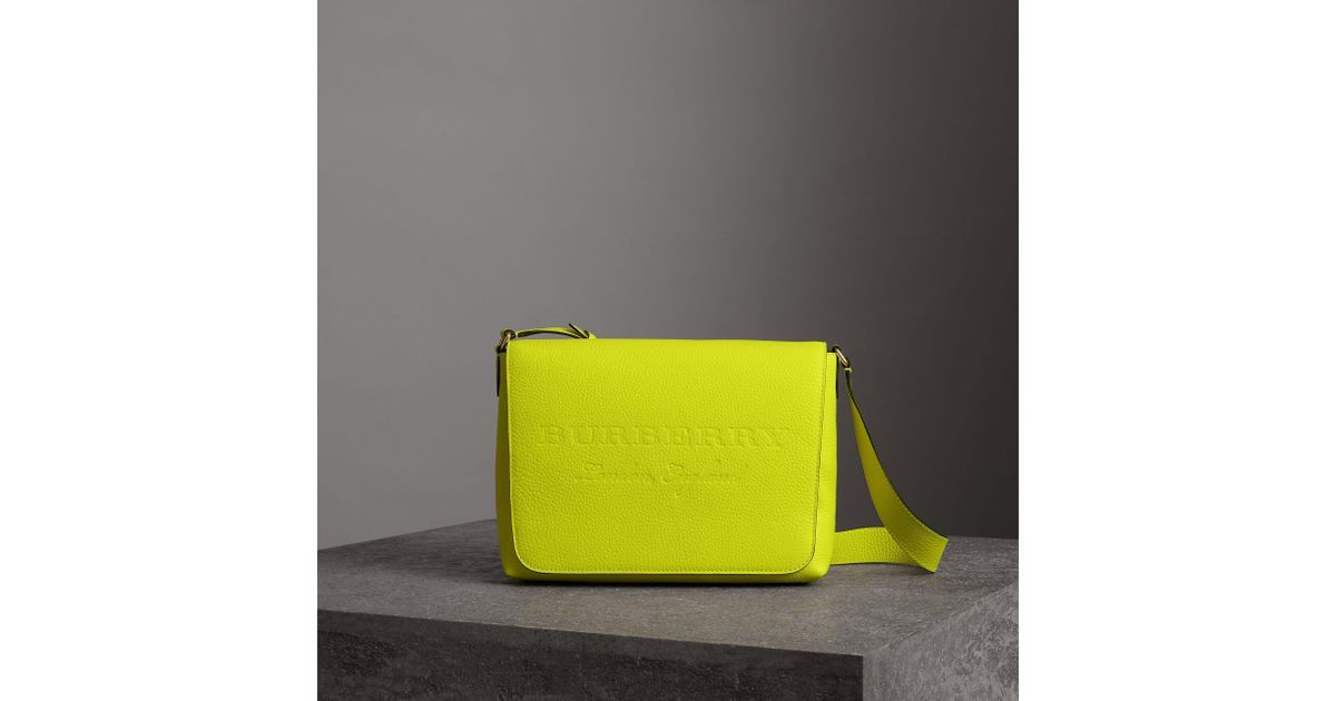 89144ae0a83f Lyst - Burberry Medium Embossed Leather Messenger Bag in Yellow
