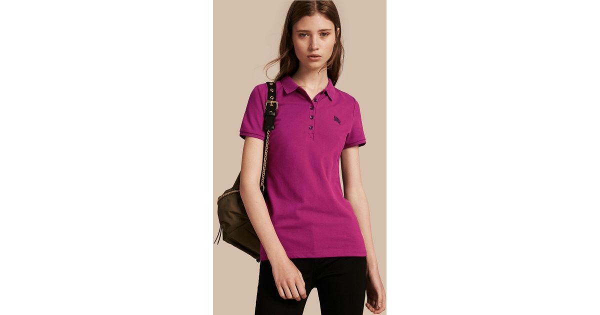 fad562887fe Lyst - Burberry Cotton Piqué Polo Shirt Magenta Pink in Blue