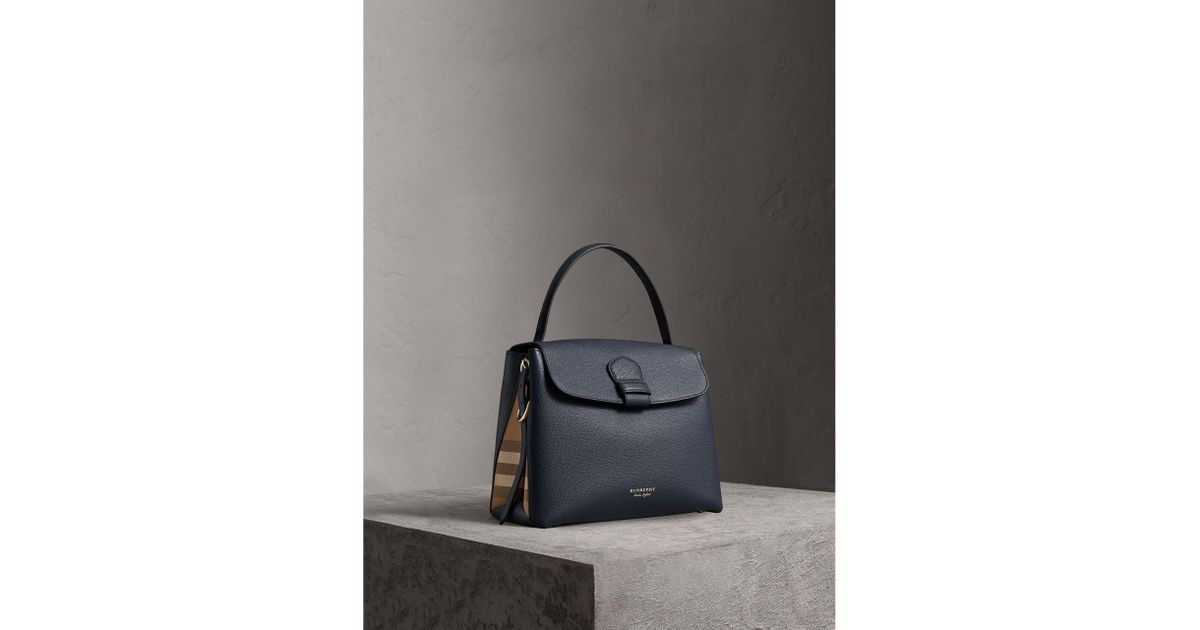74b5b7aca98 Burberry Medium Grainy Leather And House Check Tote Bag in Blue - Lyst