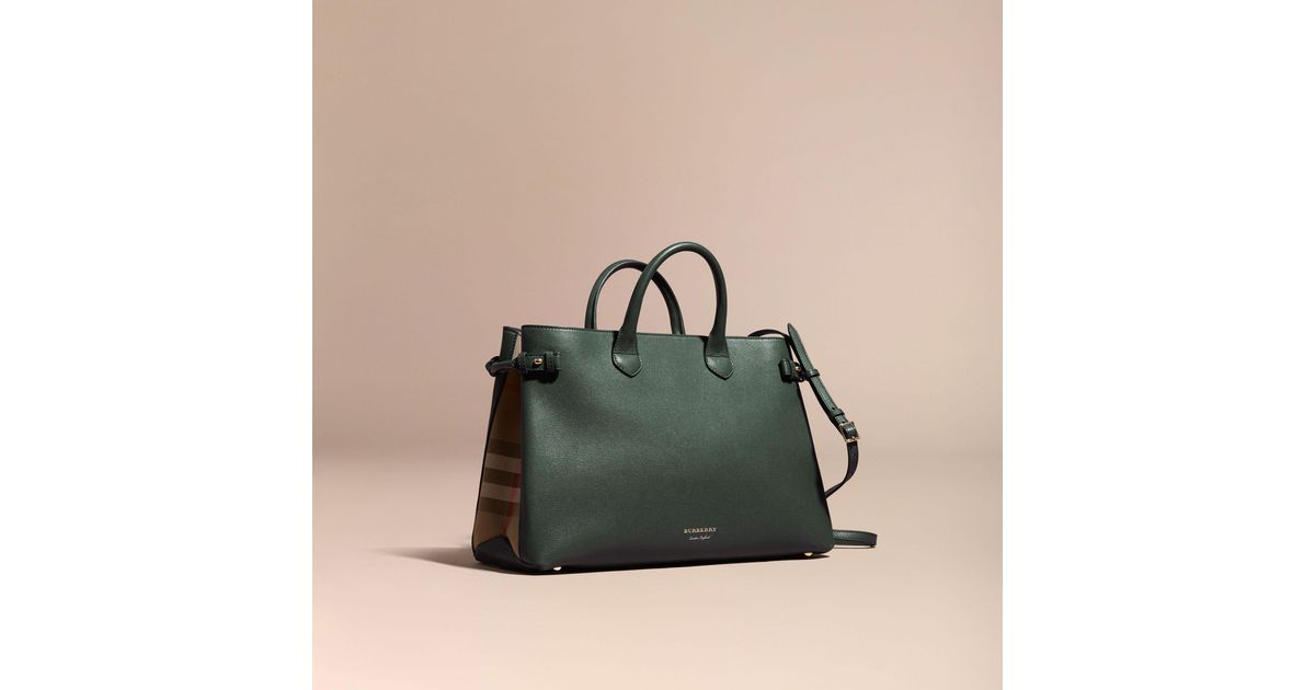 Lyst - Burberry The Large Banner In Leather And House Check Dark Bottle  Green in Green c4e12116323fd