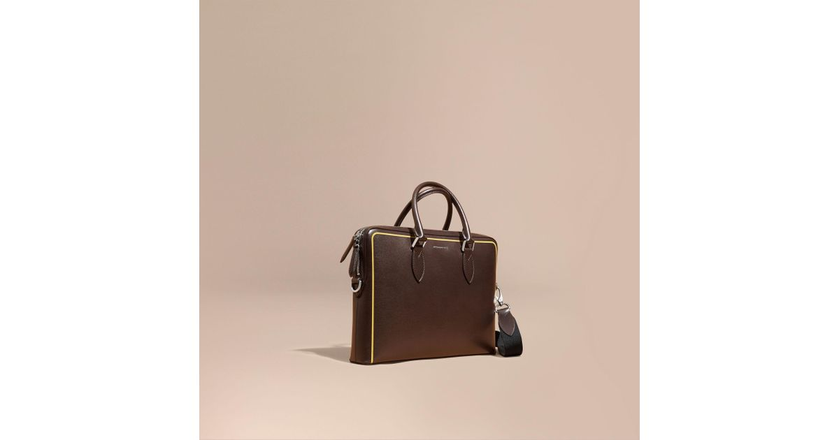 2a276c2f4223 Lyst - Burberry The Slim Barrow Bag In London Leather With Border Detail  Peppercorn for Men
