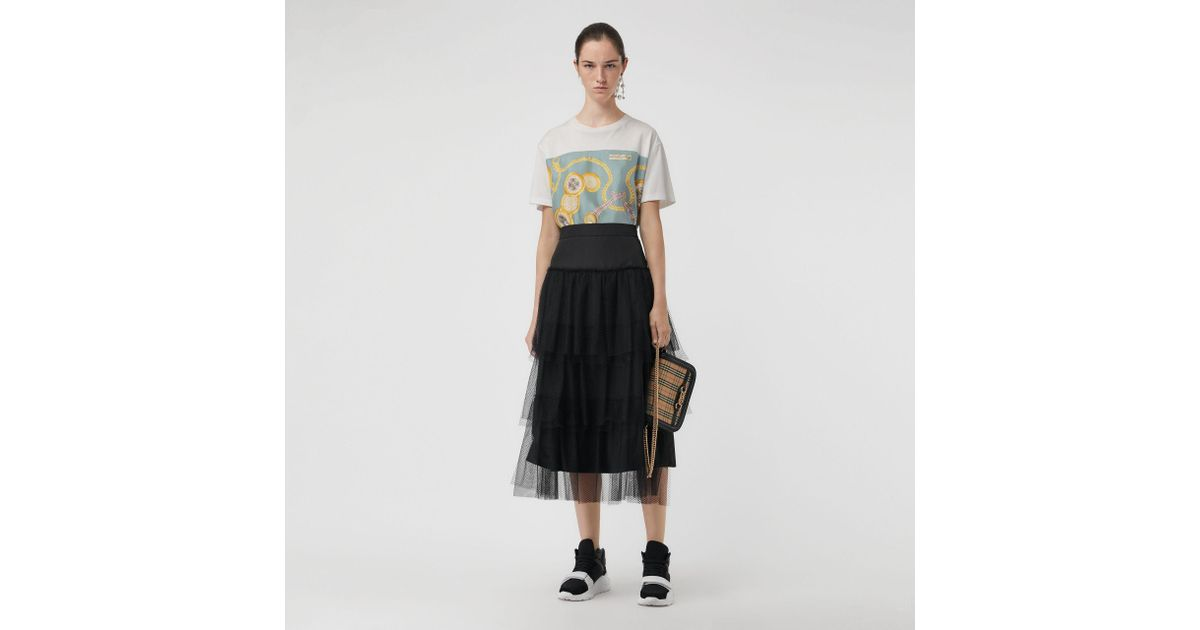 ca9e6a540a52 Burberry Archive Scarf Print Oversized T-shirt in White - Lyst