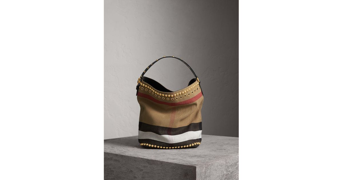 0ad60f883 Burberry The Medium Ashby In Riveted Canvas Check And Leather in Black -  Lyst