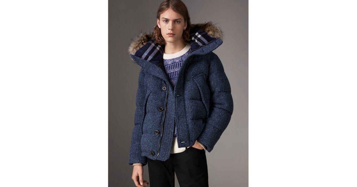 b85c9c995900 Lyst - Burberry Detachable Fur Trim Down-filled Cashmere Parka in Blue for  Men